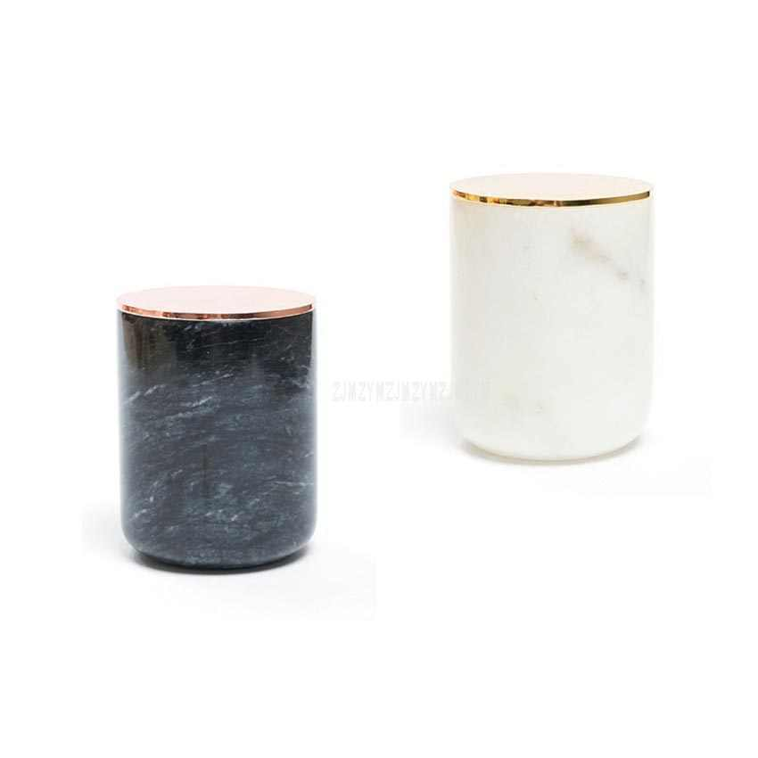 Marble Candle Jar With Gold Lid Home Decor Candle Holders Decorative Candle Stand Wedding Party Decor Luxury Candle Stand Cup
