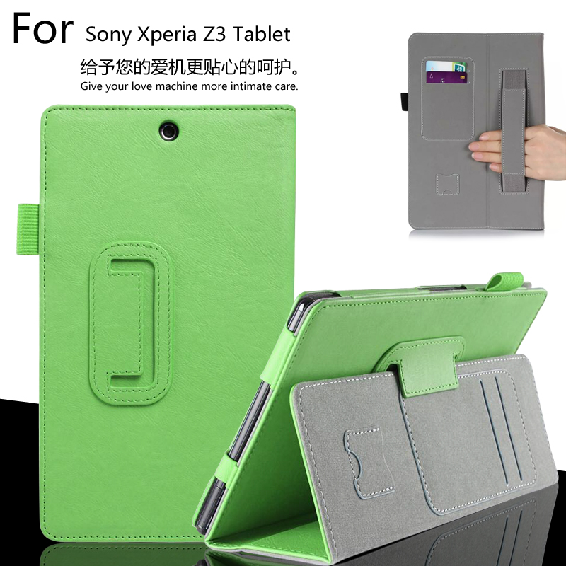 For Sony Xperia Z3 Tablet Compact 8.0 inch SGP621 / SGP641 Luxury Leather Card Wallet Hand Strap Stand Case Cover x line tpu case gel silicone tablet case skin rubber cover pouch sleeve bag for sony xperia z3 8 0 tablet compact sgp621 sgp641