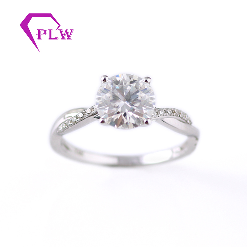 Provence Jewelry 14K White Gold  1ct 6.5mm 1mm 0.8mm D Color Moissanite Diamond Solitaire Ring Engagement Ring For Women Wedding