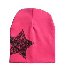 Five pointed star autumn baby cap knitted warm cotton beanie hat for toddler baby kids girl