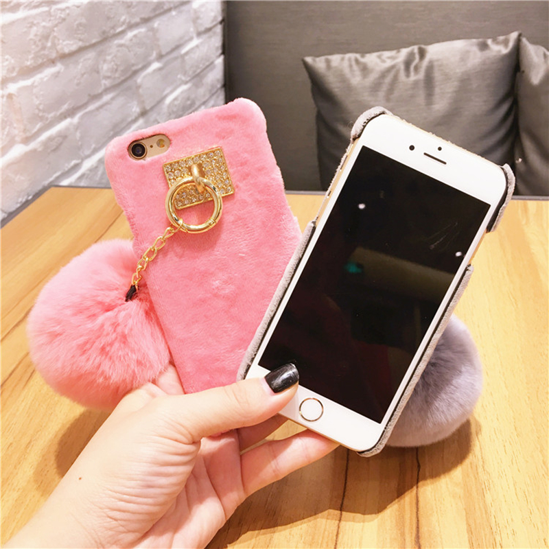 Aoweziic For iphoneX XS MAX XR 6S 8P 7Plus Bling Rabbit Diamond Candy Color Phone Hard Cover With Fashion Fur Ball Phone Cases in Half wrapped Cases from Cellphones Telecommunications