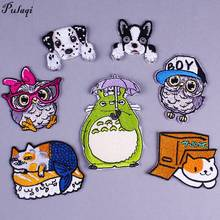 Pulaqi My Neighbor Totoro Patches Diy patch for clothing Cartoon owl iron patches kids stripes on clothes H