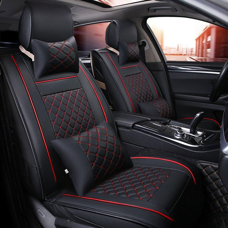 (Frente + Traseira) tampa de assento do carro de luxo de Couro Temporada Para Ford explorer fusão foco Taurus S-MAX 4 2013 2012 2011 2009 styling