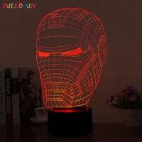 Ilusión 3D iron man mask forma luz de la noche LLEVÓ la lámpara de mesa como envío libre del regalo FS-2822