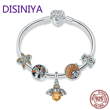 DISINIYA 925 Sterling Silver Trendy Insect Bee Pendant Starfish Charm Bracelets Bangles for Women Jewelry SCB805