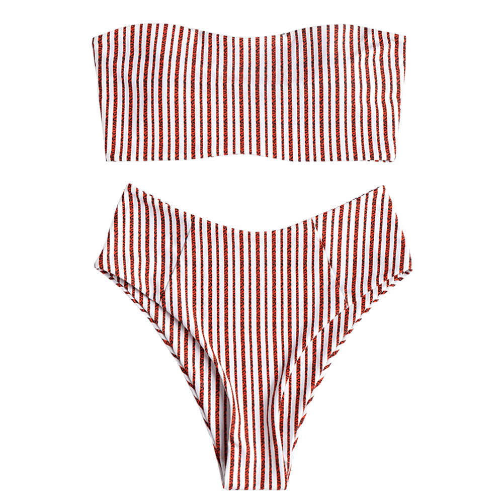 42e5783fabc70 ZAFUL 2019 Bandeau Striped High Cut Bikini Set Women s Swimsuit Padded  Swimwear Sexy Strapless BIquni Summer