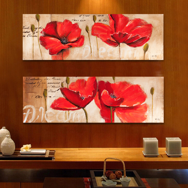 Modern hand painted oil canvas print red <font><b>poppy</b></font> flower <font><b>sea</b></font> picture poster wall art canvas decorative pictures duvar tablolar