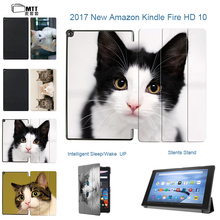 MTT Filp Stand PU leather Lovely Cat Cover For fire hd 10 Folio Smart cover case for 2017 Amazon All New Fire 10 Tablet Case