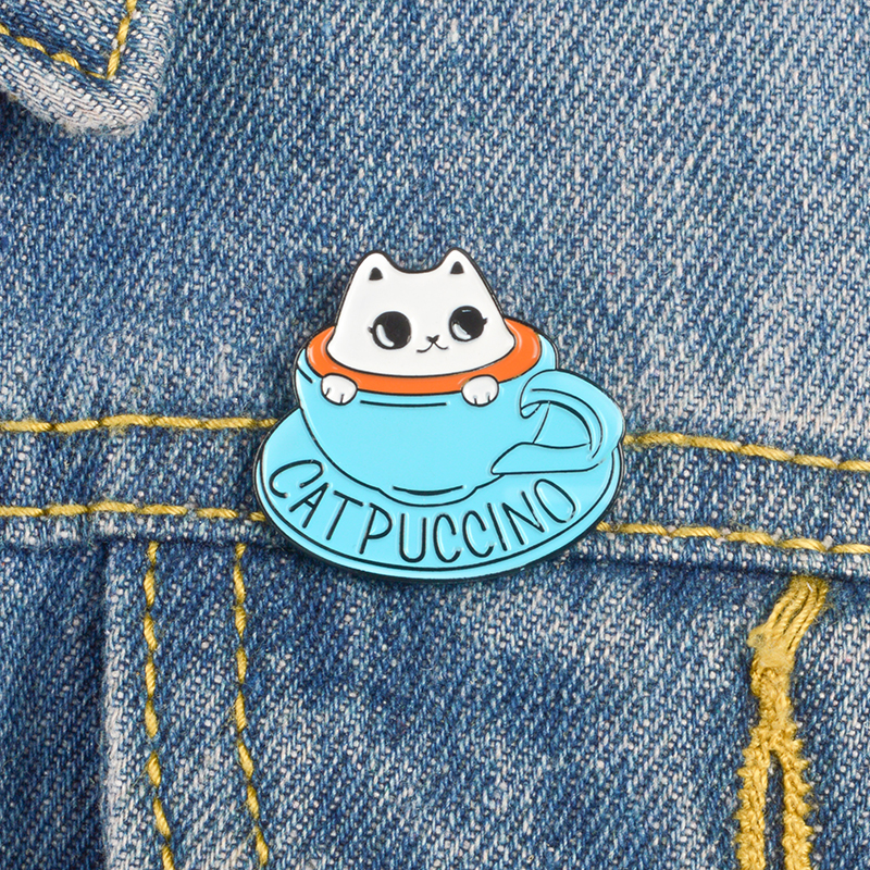 Catpuccino Cat Enamel Pin Badge Gift Brooch Coffee Cup Cappucino Lover Kitty Cat