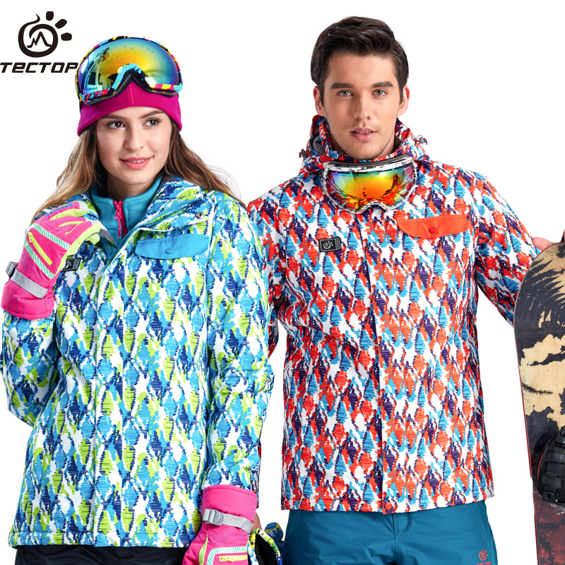 Tectop Women Men Ski Jacket Winter Waterproof Snowboard Skiing Suit For Female And Male S-XXXL gsou snow ski suit for women skiing suit winter outdoor sports clothes snowboard set camouflage ski jacket and pants multicolor
