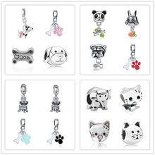 free shipping Silver plated alloy pendant Bead cute animal dog cat rabbit elephant charm Fit Pandora Bracelet&necklack DIY women(China)