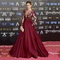 Zuhair Murad Burgundy Long Evening Dresses 2016 Sheer Neck See Through Red Carpet Purple Prom Party Gown Robe de Soiree Cheap