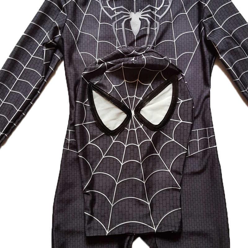 Новый черный человек паук обувь для мальчиков костюм Venom дети супергерой косплэй Лайкра Полный боди Zentai костюм Хэллоуин ребенок нарядное платье 2018