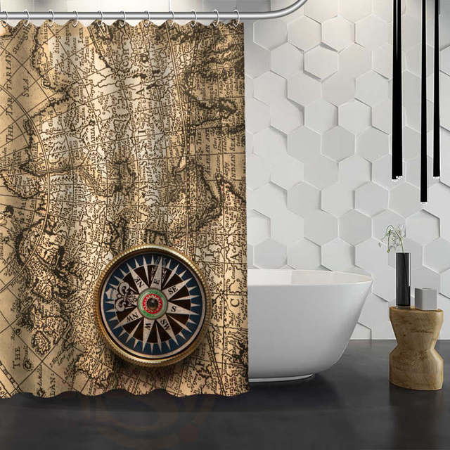 Hot Sale Custom World Map Background Shower Curtain Waterproof Fabric  Shower Curtain For Bathroom F#