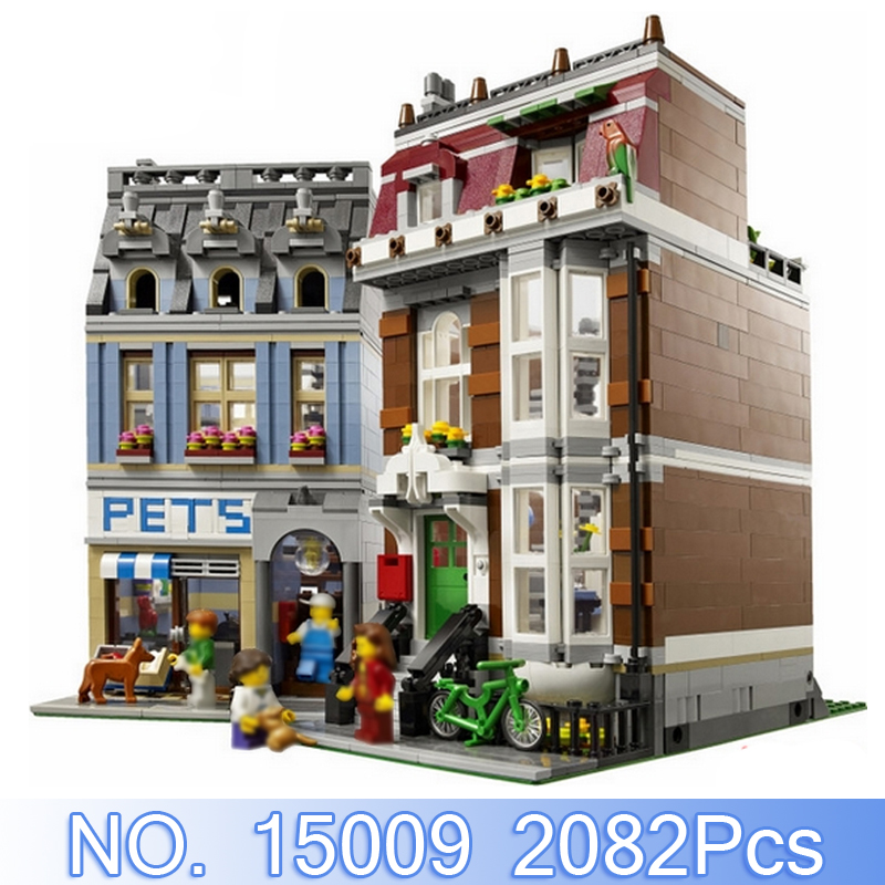 Lepin 15009 City Creator Figures 2082Pcs Pet Shop Model Building Kits Blocks Bricks Sets Toys For Children Compatible With 10218 led light up kit gor city model building block figures accessories kit toys for children compatible with lepin