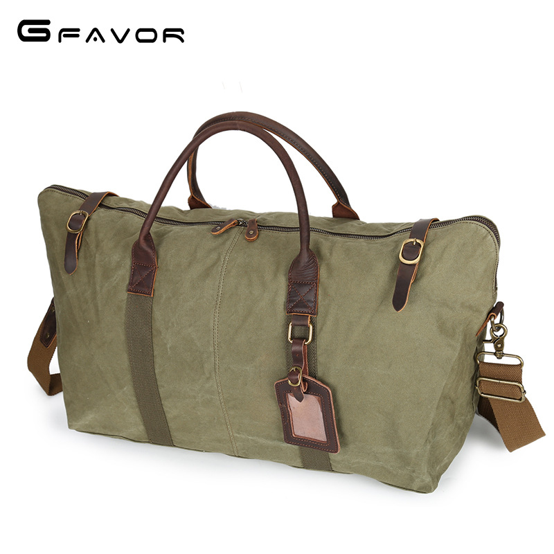 Фотография Vintage military Canvas Leather men travel bags Carry on Luggage bags Men Duffel bags travel tote large weekend Bag Overnight