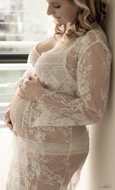 Le Couple Valkoinen Pitsi Äitiysmekko Ripsien raskausmekko - Raskaus ja äitiys - Valokuva 2