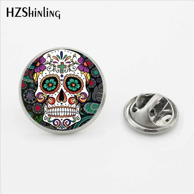 2017 Baru Sugar Skull Gesper Pin Handmade Bulat Bunga Tengkorak Perhiasan Kupu-kupu Bros Glass Photo Stainless Steel Kerah Pin