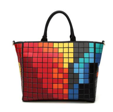 new hot women hit color bao bao tote bag large capacity hologram laser women handbags