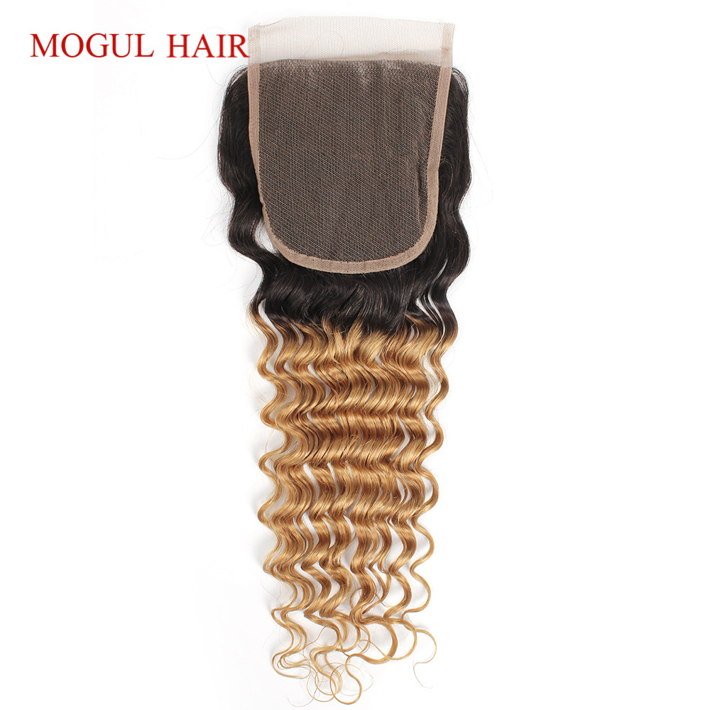 Mogul Hair Brazilian Hair Deep Wave 4*4 Lace Closure Color 1B 27 Ombre Honey Blonde Free Middle Part Remy Human Hair Extension