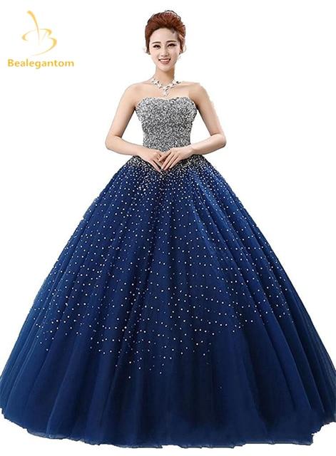 3cfdf70e077 Bealegantom Royal Blue Quinceanera Dresses Ball Gown 2018 Beaded Crystal  Lace Up Sweet 15 16 Dresses Vestidos De 15 Anos QA1087
