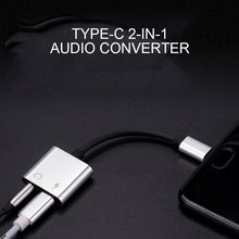 2 in 1 Type-C Male To 3.5mm Jack Earphone Adapter Cable Universal AUX Audio Fast Charge Adapter For Huawei P20 Mate 20 Pro(China)