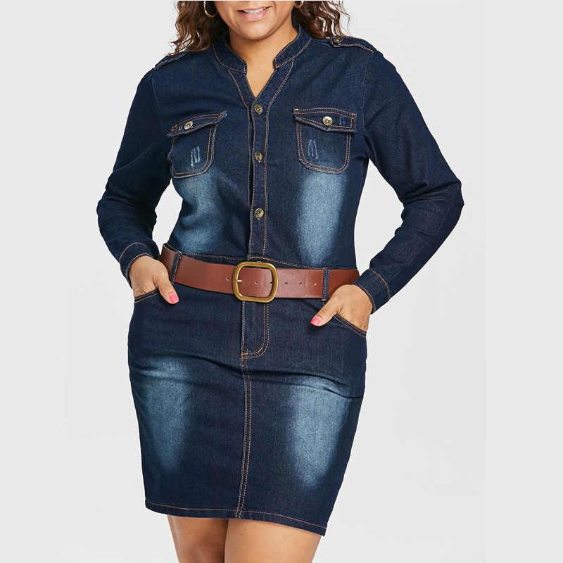 Wisalo плюс размер 5XL приталенное джинсовое платье с поясом Женская одежда стоячий воротник с длинными рукавами платья Vestidos Повседневное платье