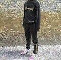 Gosha Rubchinskiy Estilo Hip Hop Camisola de Algodão Mais Recente Bordado Moletom Com Capuz Conjunto Das Mulheres Dos Homens de Moda Pullover Hoodies + Sweatpants