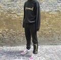 Gosha Rubchinskiy Hip Hop Style Cotton Sweatshirt  Latest Embroidery Hoodie Set Men Women Fashion Pullover Hoodies + Sweatpants