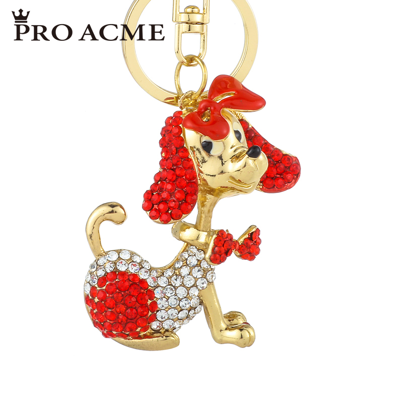 Pro Acme Bow Tie Poodle Dog Keychain for Women Crystal Animal Key Chains Bag Pendant Keyrings Car Key Holder Jewelry PWK0831