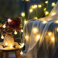 Super Bright Holiday Lantern Fairy String Light Crystal Globe Ball 20LED Plug in Outdoor Landscape Lamp USB Garden