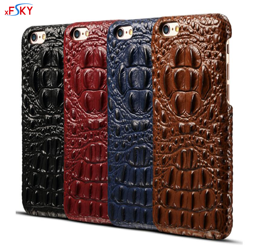 xFSKY Real Genuine Leather Case For iPhone 7 8 Cell Phone Luxury Leather 3D Crocodile Head Skin Pattern Back Cover For iphone 8