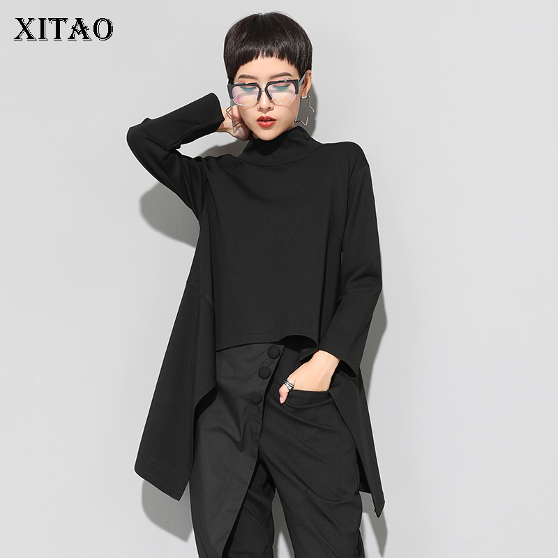 XITAO Vintage Black Turtle Neck T Shirt Women Plus Size Kawaii Casual Long Sleeve Irregular Tops Korean Clothes New ZLL1177