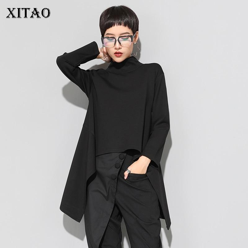 XITAO Vintage noir col roulé t-shirt femmes grande taille Kawaii décontracté à manches longues irrégulière hauts vêtements coréens nouveau ZLL1177