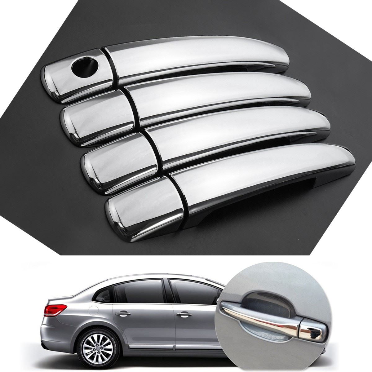 1 Set CHROME DOOR HANDLE COVER TRIM FOR PEUGEOT 207 308 407 CITROEN C4 C6 C4 PICASSO