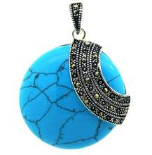 LL <<<Coin Bleu 925 Sterling Argent Marcassite Pendentif 35*35mm(China)