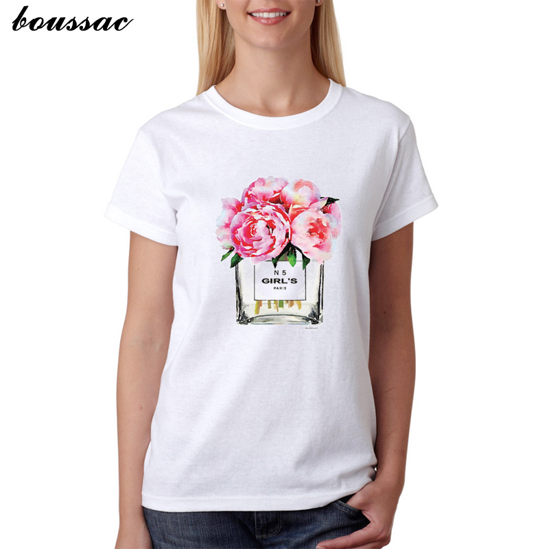 Summer 2019 Women T shirt Flower Perfume printed T shirt Ladies O neck White Short Sleeve Casual Tops Tee Camiseta Mujer Femme in T Shirts from Women 39 s Clothing
