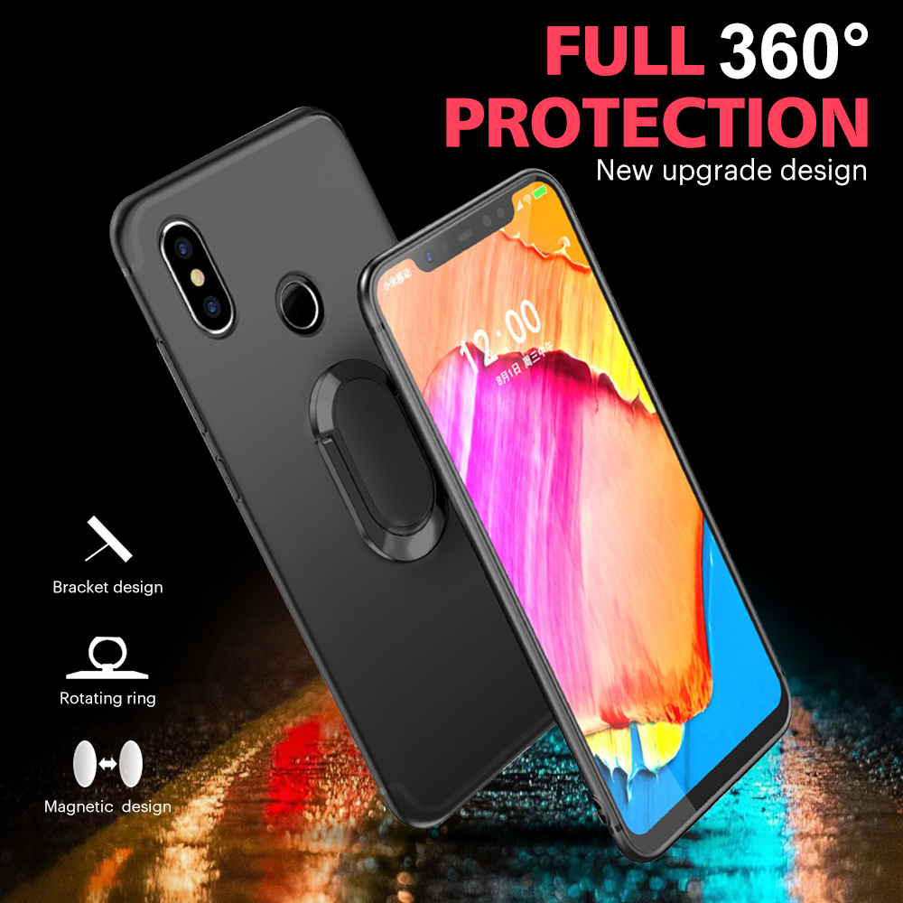 For Xiaomi Pocophone F1 Luxury Matte Magnetic Finger Ring Protective Case For Pocophone F1 Soft TPU Full Cover Case For POCO F1