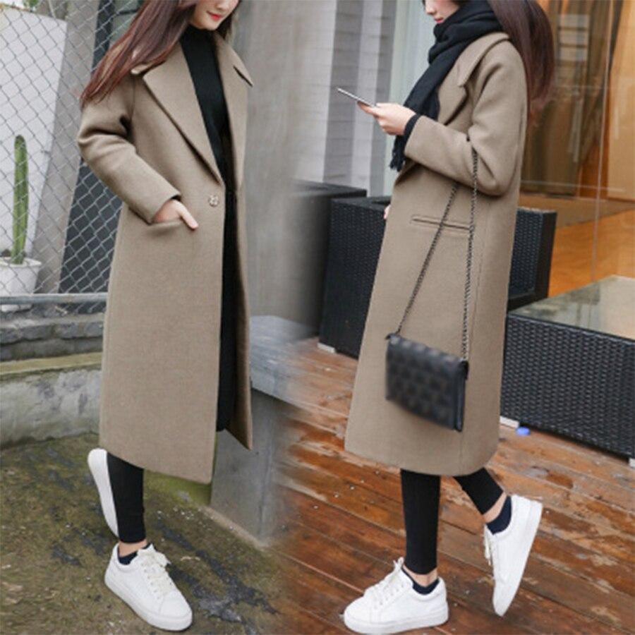 Women S Long Lapel Wool Blend Coat Thicken Loose Solid Color Dark Buckle Long Knee Coat
