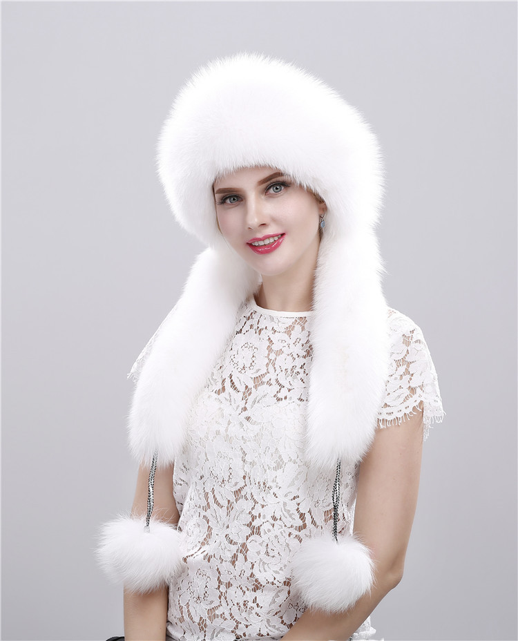 d2381a9ac US $125.0  The fox fur hats for women fur hat double braid Mongolia  princess hat otter rabbit hair crown winter earmuffs fur cap-in Bomber Hats  from ...
