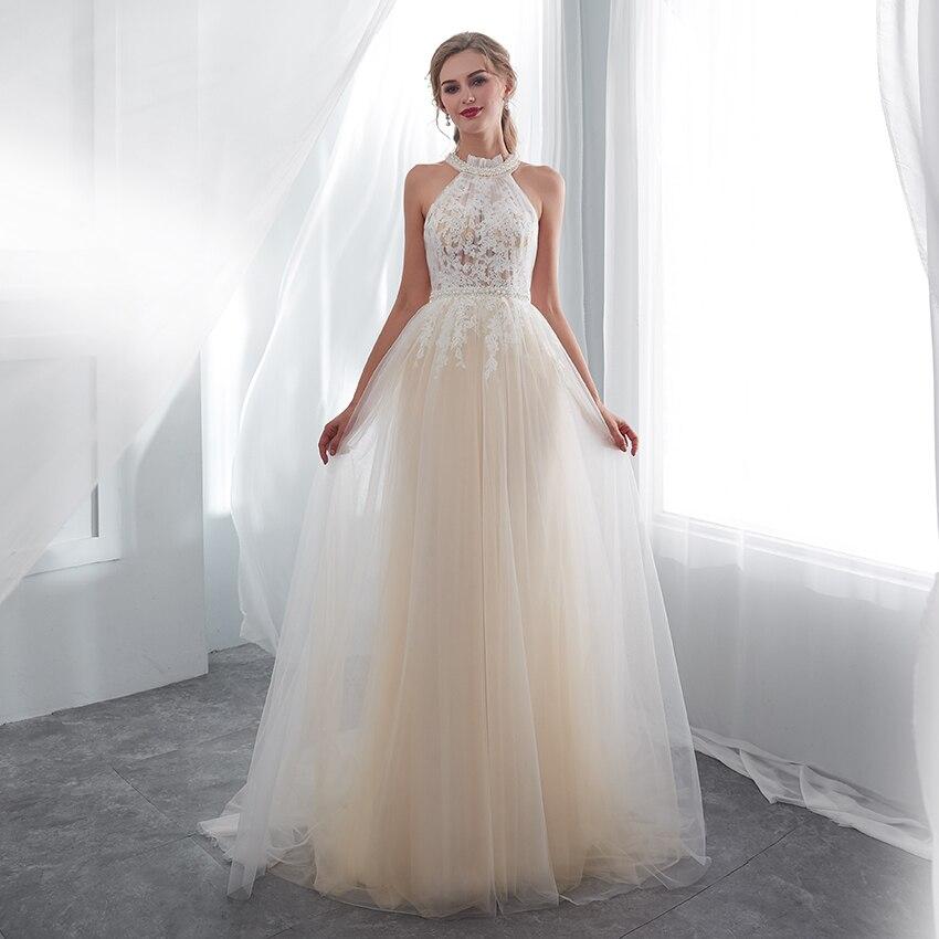 Romantic Wedding Dress 2018 vestido de noiva In Stock Halter Sleeveless Lace Tulle Wedding Gowns Bridal Dresses