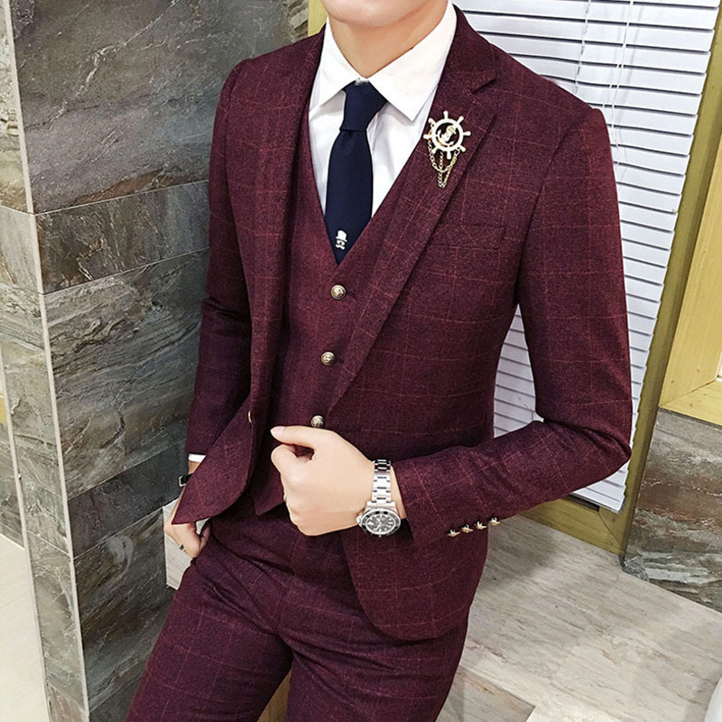 Здесь продается  Toturn 3 Pcs Plaid Suit Men Slim Fit Gentleman Wedding Suits for Men Plus Size Formal Business Suit Man Tuxedo Terno Masculino   Одежда и аксессуары