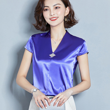 Korean Fashion Silk Women Blouses Satin V-Neck Sleeveless Red Women Shirts Plus Size XXXL Womens Tops and Blouses