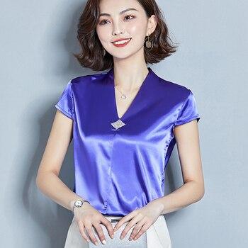 Korean Fashion Silk Women Blouses Satin V-Neck Sleeveless Red Shirts Plus Size XXXL Womens Tops and
