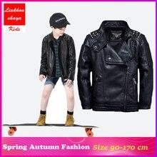 Liakhouskaya 2019 Children Wind PU Leather Leather Rivet Cool Coat Outwear Infantil Baby Boys Autumn Spring Kids Solid Jacket