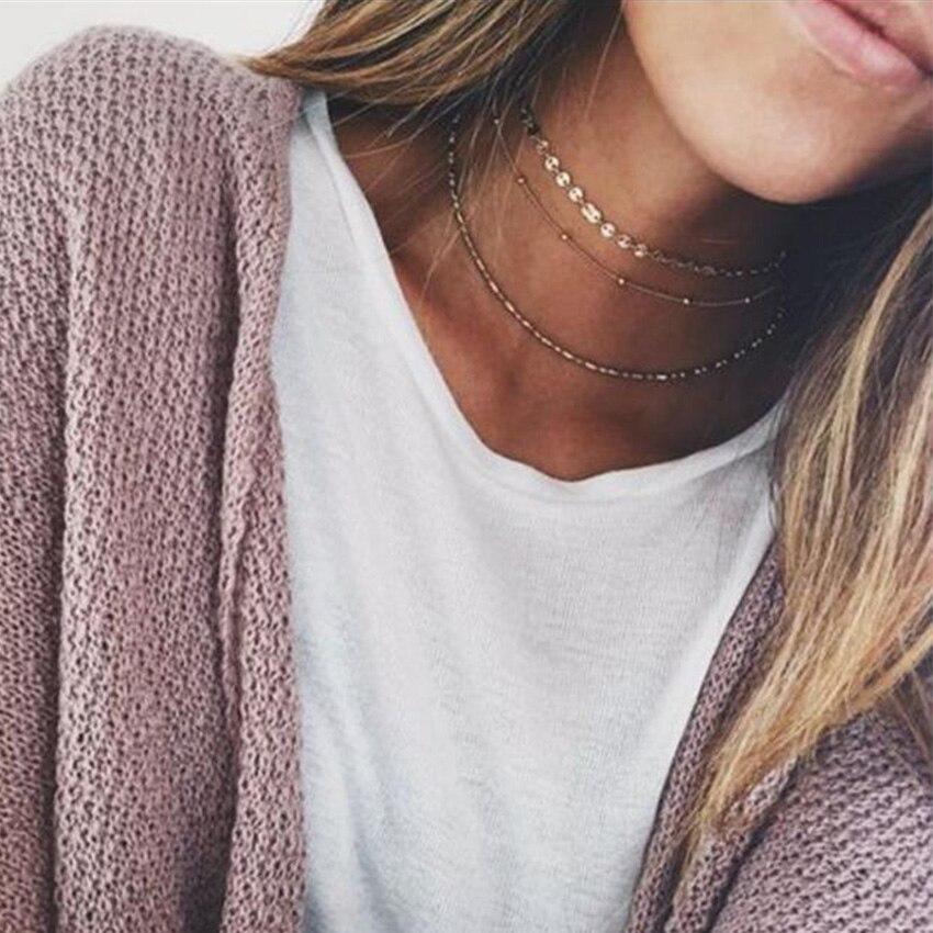 Simple Gold Choker Necklace For  Boho Coin Chocker Necklaces Multi layer colar collier ras du cou  gargantilha bijoux
