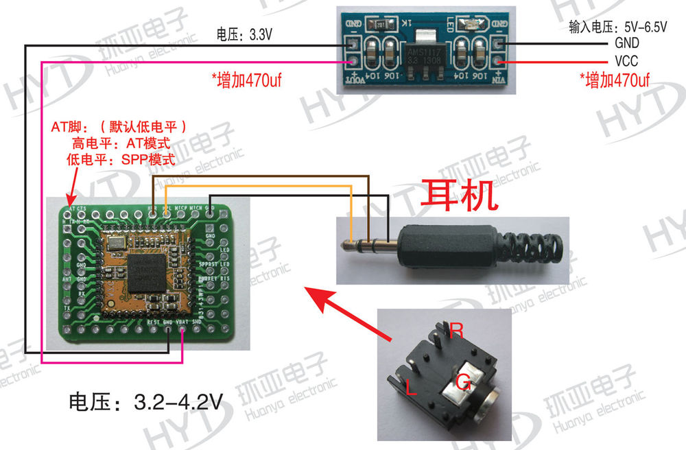 rda5851s 2 1 bluetooth audio module support at command spp data rh aliexpress com Headset Jack Wiring Headphone Wiring-Diagram
