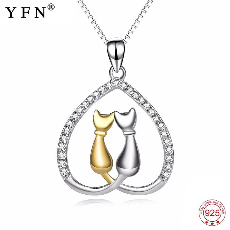 Genuine 925 Sterling Silver Necklace Choker AAA zircon Love Heart Double Cute Cat Necklaces Luxury Jewelry For Women PYX0066