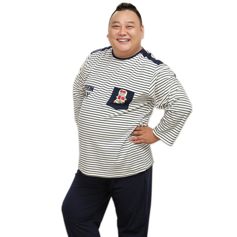 4XL Sexy Stripes Mens Sleepwear Sets 100% Cotton Long Sleeves Pijamas Pyjamas Homme Casual Men Winter Pajama Sets Men Night Wear