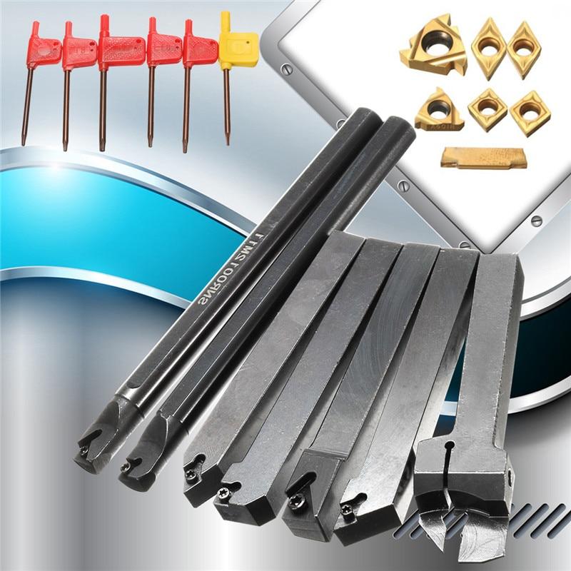 12mm 21Pcs/Set Shank Lathe Turning Tool Holder Boring Bar +Insert+Wrench S12M-SCLCR06/SER1212H16/SCL1212H06